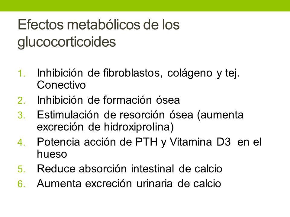 Efectos metabólicos de los glucocorticoides 1. Inhibición de fibroblastos, colágeno y tej. Conectivo 2. Inhibición de formación ósea 3. Estimulación d
