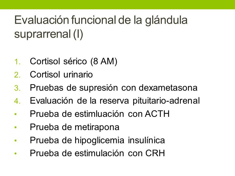 Evaluación funcional de la glándula suprarrenal (I) 1. Cortisol sérico (8 AM) 2. Cortisol urinario 3. Pruebas de supresión con dexametasona 4. Evaluac
