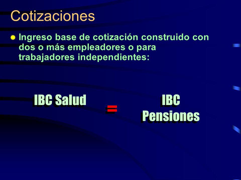 Cotizaciones Ingreso base de cotización construido con dos o más empleadores o para trabajadores independientes: IBC Salud IBC Pensiones = =
