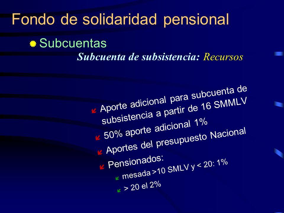 Fondo de solidaridad pensional Aporte adicional para subcuenta de subsistencia a partir de 16 SMMLV 50% aporte adicional 1% Aportes del presupuesto Na