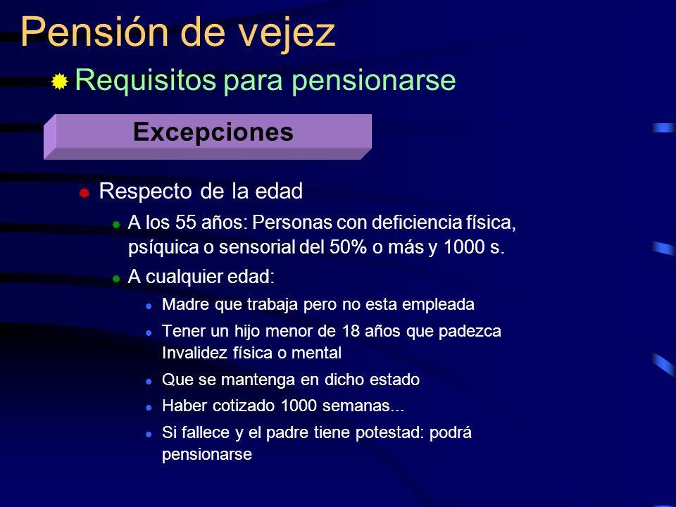 Respecto de la edad A los 55 años: Personas con deficiencia física, psíquica o sensorial del 50% o más y 1000 s. A cualquier edad: Madre que trabaja p