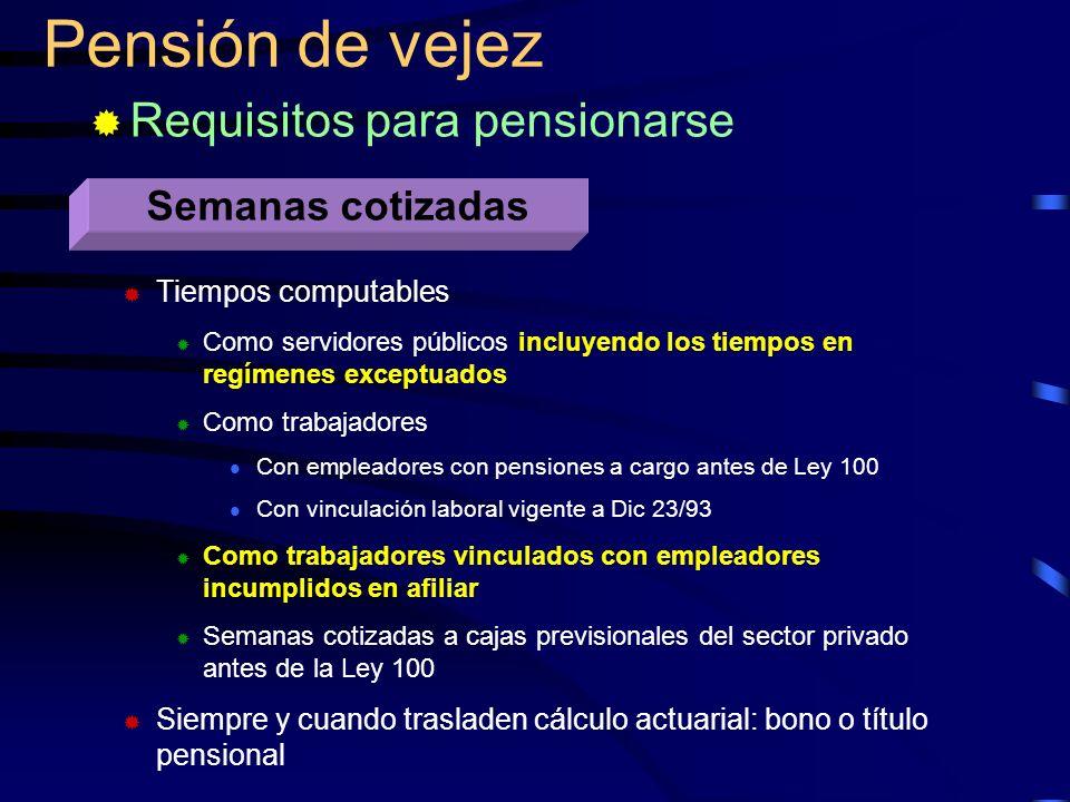 Pensión de vejez Requisitos para pensionarse Semanas cotizadas Tiempos computables Como servidores públicos incluyendo los tiempos en regímenes except