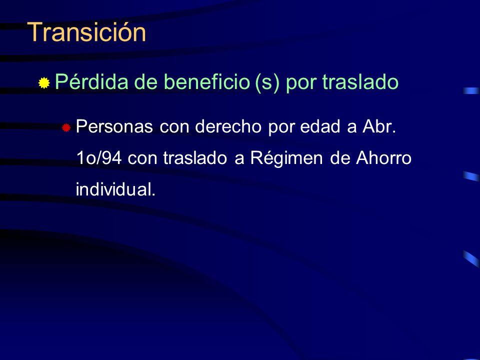 Pérdida de beneficio (s) por traslado Personas con derecho por edad a Abr. 1o/94 con traslado a Régimen de Ahorro individual. Transición