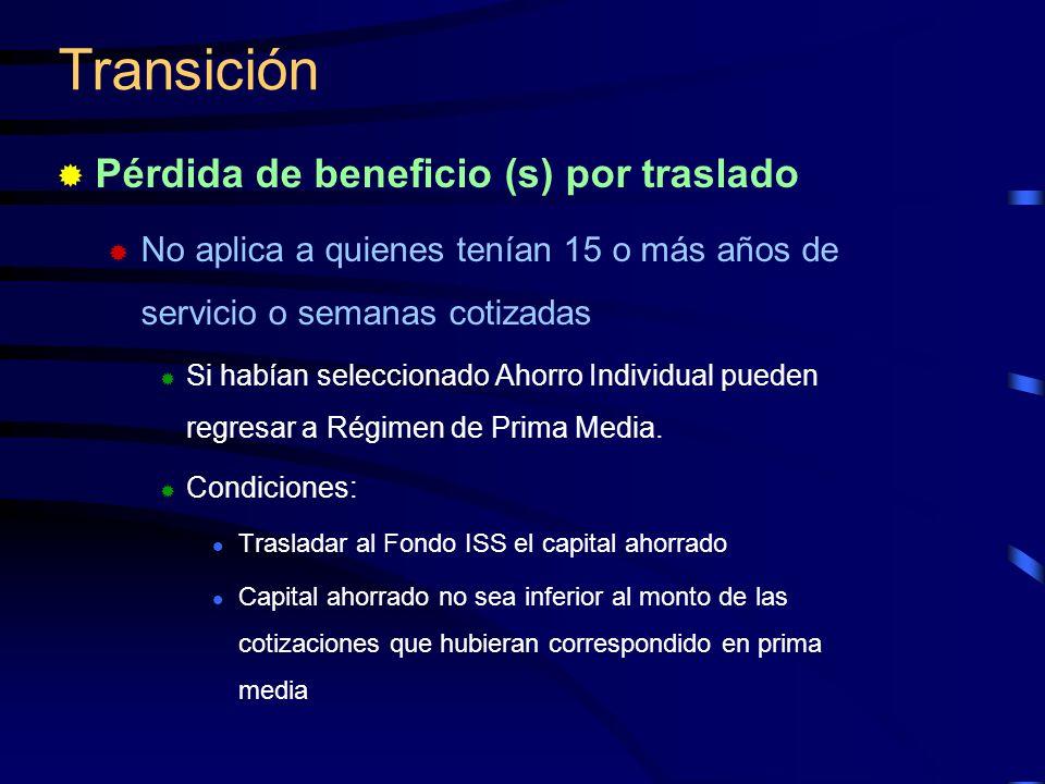 Pérdida de beneficio (s) por traslado No aplica a quienes tenían 15 o más años de servicio o semanas cotizadas Si habían seleccionado Ahorro Individua