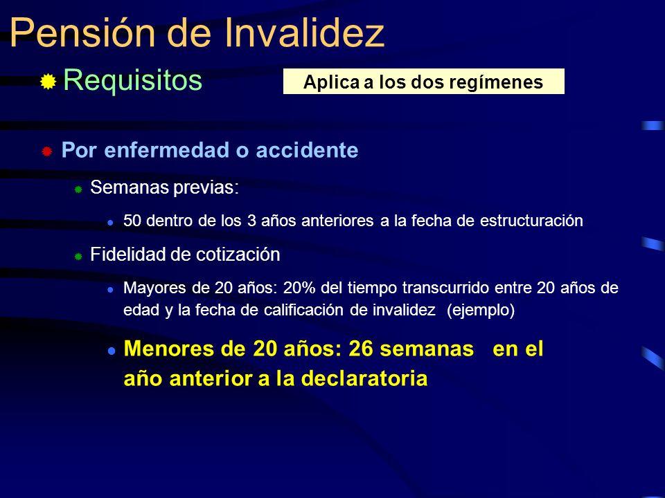 Por enfermedad o accidente Semanas previas: 50 dentro de los 3 años anteriores a la fecha de estructuración Fidelidad de cotización Mayores de 20 años