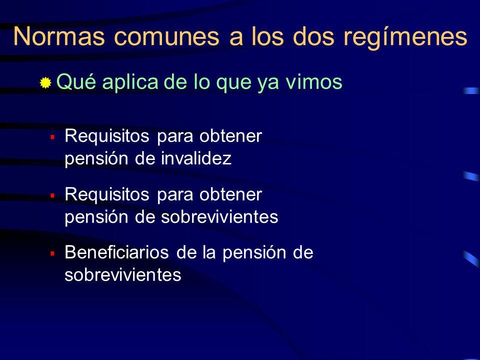 Requisitos para obtener pensión de invalidez Requisitos para obtener pensión de sobrevivientes Beneficiarios de la pensión de sobrevivientes Normas co