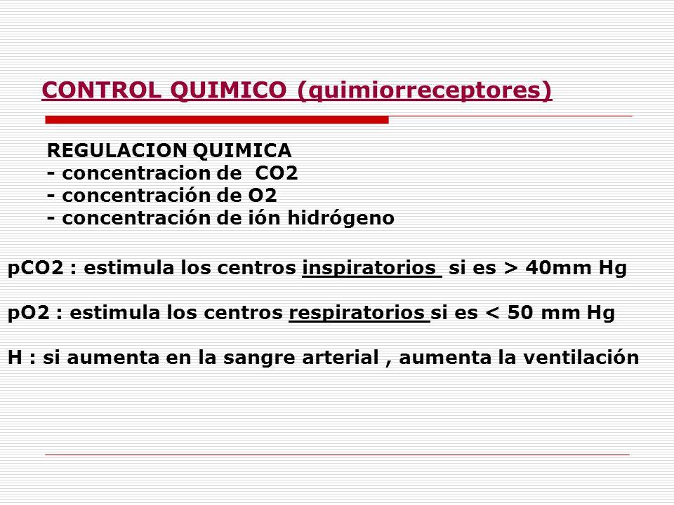 REGULACION QUIMICA - concentracion de CO2 - concentración de O2 - concentración de ión hidrógeno pCO2 : estimula los centros inspiratorios si es > 40m