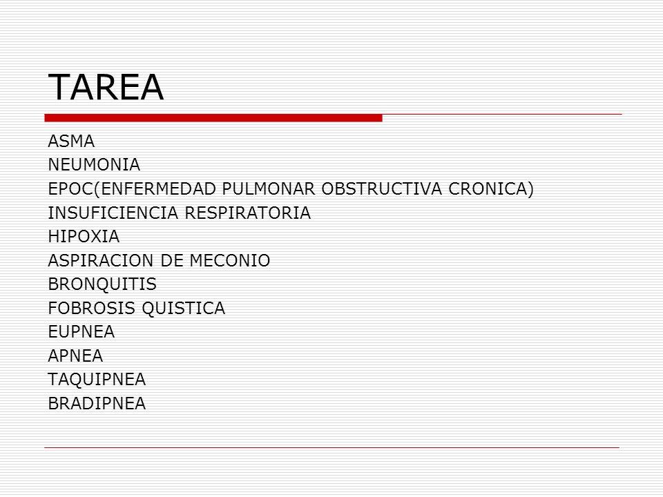 TAREA ASMA NEUMONIA EPOC(ENFERMEDAD PULMONAR OBSTRUCTIVA CRONICA) INSUFICIENCIA RESPIRATORIA HIPOXIA ASPIRACION DE MECONIO BRONQUITIS FOBROSIS QUISTIC