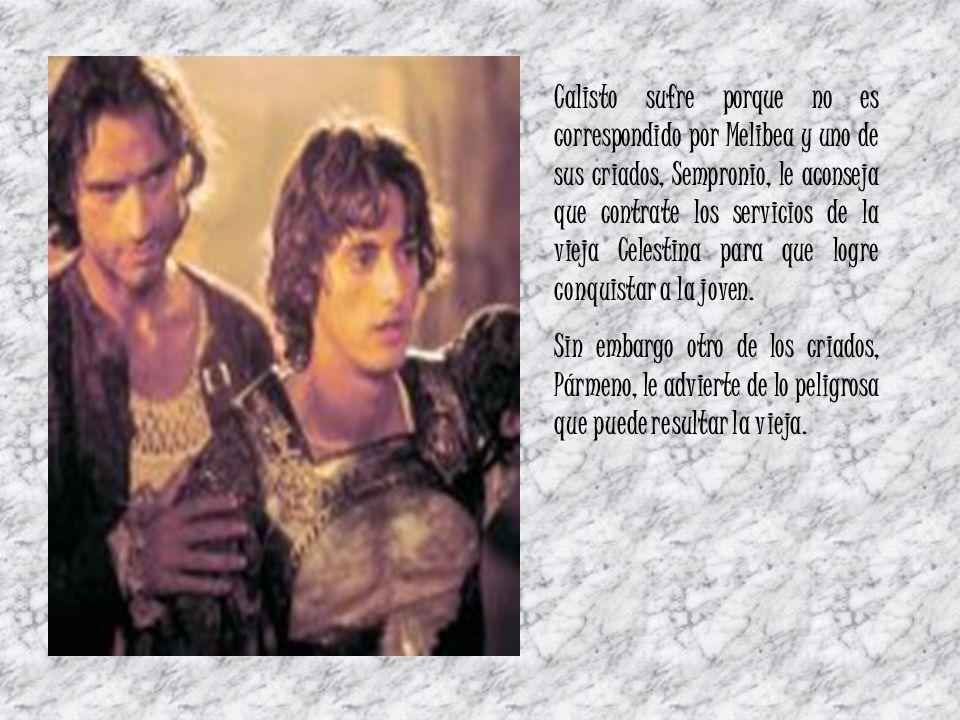Calisto sufre porque no es correspondido por Melibea y uno de sus criados, Sempronio, le aconseja que contrate los servicios de la vieja Celestina par