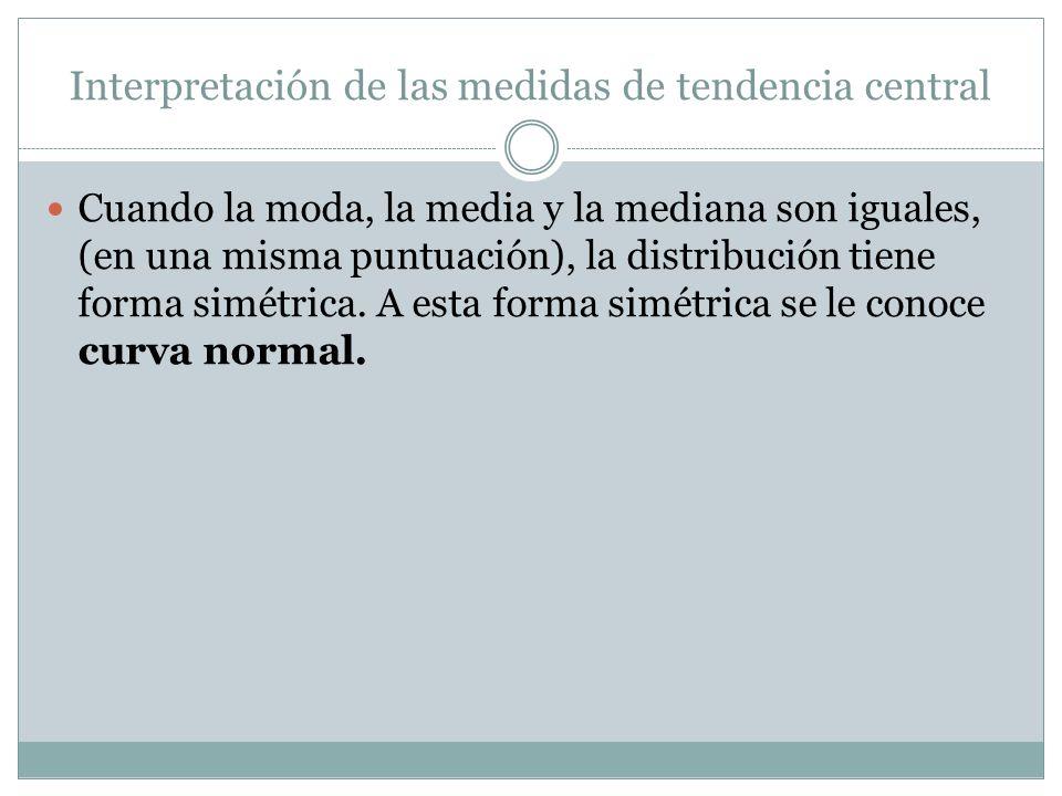 Interpretación de las medidas de tendencia central Cuando la moda, la media y la mediana son iguales, (en una misma puntuación), la distribución tiene