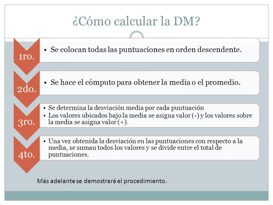 ¿Cómo calcular la DM? 1ro. Se colocan todas las puntuaciones en orden descendente. 2do. Se hace el cómputo para obtener la media o el promedio. 3ro. S