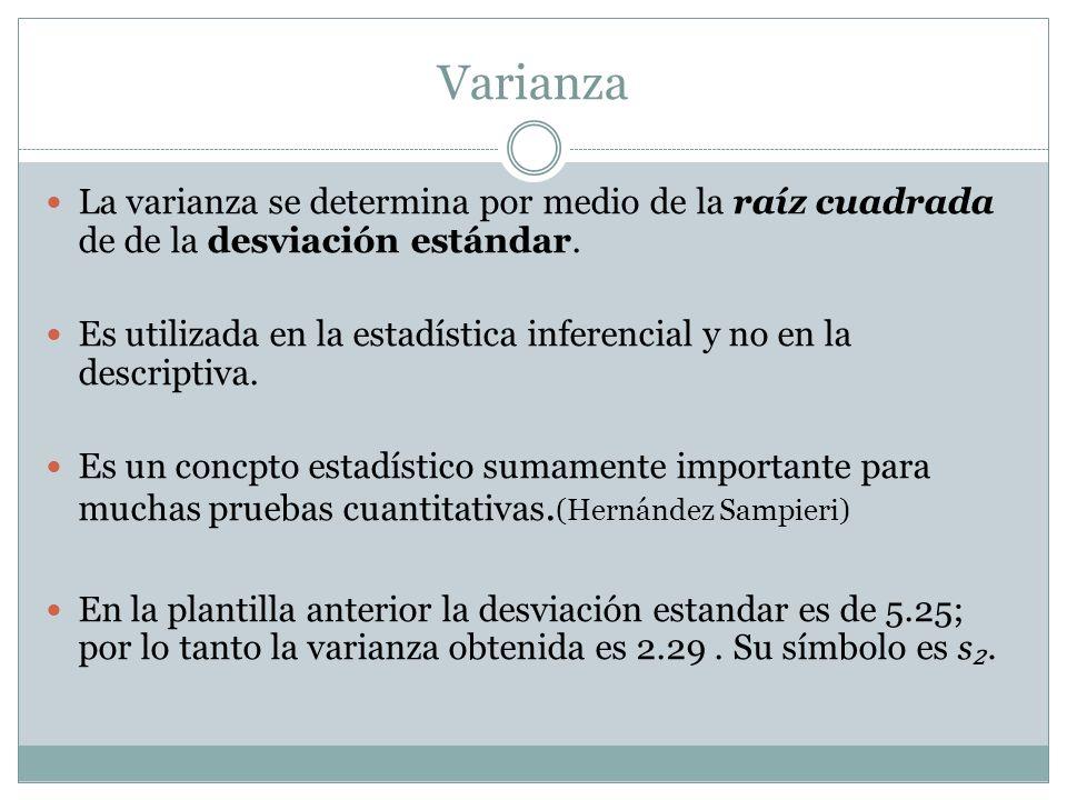 Varianza La varianza se determina por medio de la raíz cuadrada de de la desviación estándar. Es utilizada en la estadística inferencial y no en la de