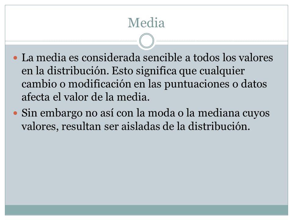 Media La media es considerada sencible a todos los valores en la distribución.