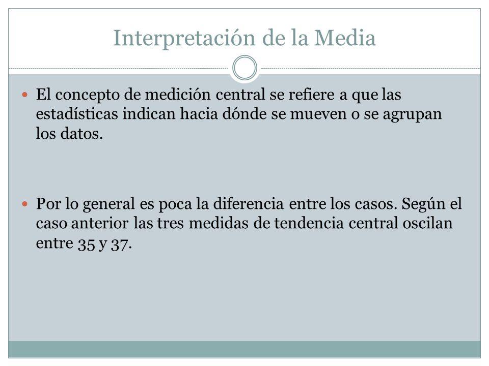 Interpretación de la Media El concepto de medición central se refiere a que las estadísticas indican hacia dónde se mueven o se agrupan los datos. Por