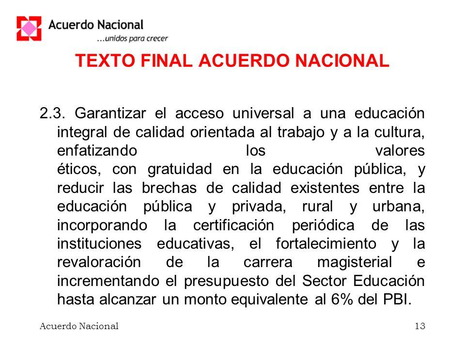 Acuerdo Nacional13 TEXTO FINAL ACUERDO NACIONAL 2.3.