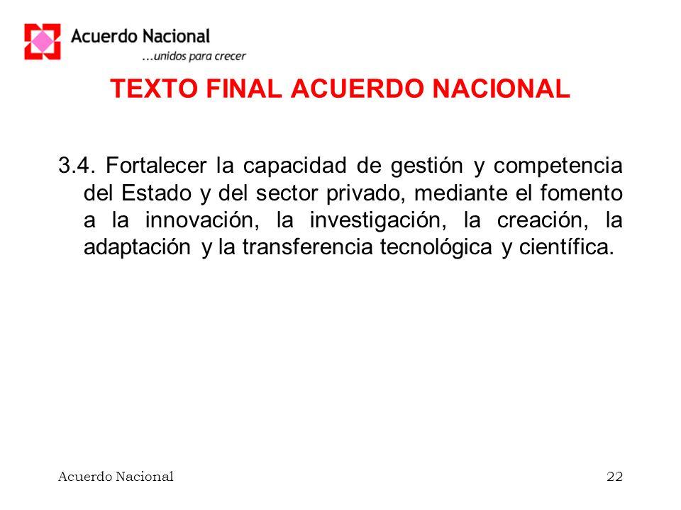 Acuerdo Nacional22 TEXTO FINAL ACUERDO NACIONAL 3.4.