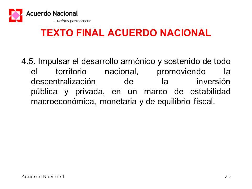 Acuerdo Nacional29 TEXTO FINAL ACUERDO NACIONAL 4.5.