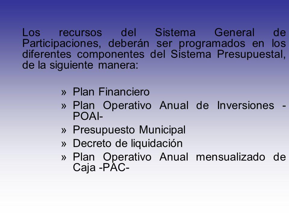 Los recursos del Sistema General de Participaciones, deberán ser programados en los diferentes componentes del Sistema Presupuestal, de la siguiente m