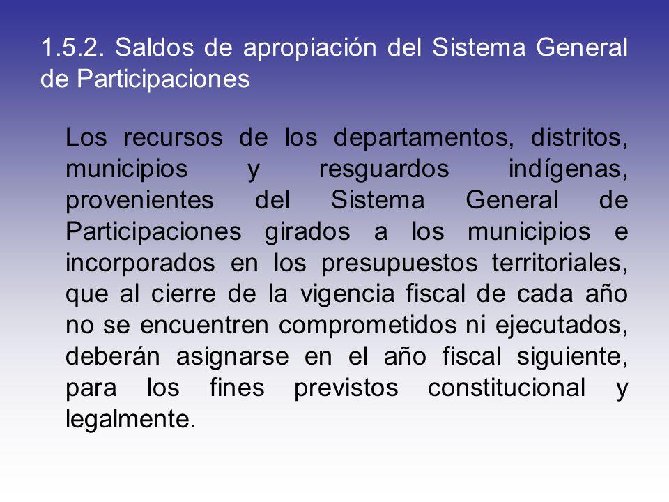 1.5.2. Saldos de apropiación del Sistema General de Participaciones Los recursos de los departamentos, distritos, municipios y resguardos indígenas, p