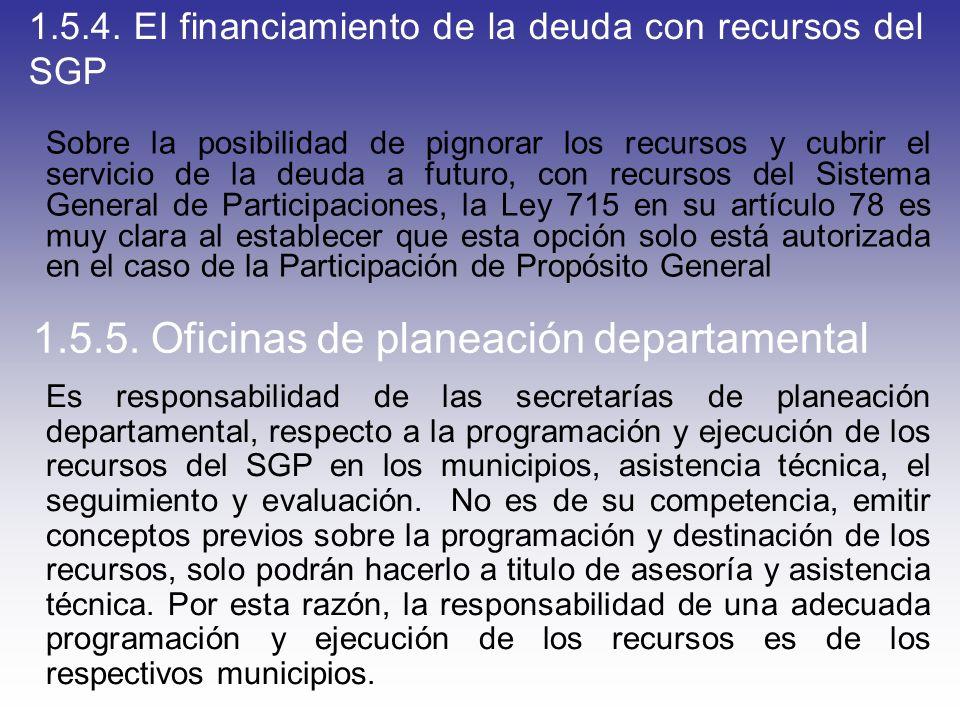 1.5.4. El financiamiento de la deuda con recursos del SGP Sobre la posibilidad de pignorar los recursos y cubrir el servicio de la deuda a futuro, con