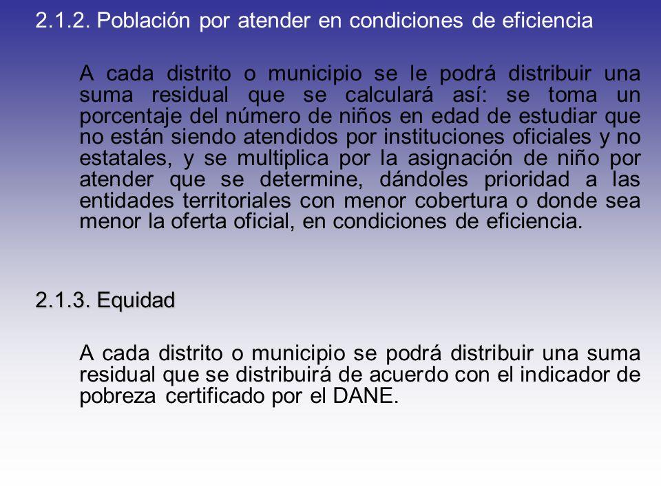 2.1.2. Población por atender en condiciones de eficiencia A cada distrito o municipio se le podrá distribuir una suma residual que se calculará así: s