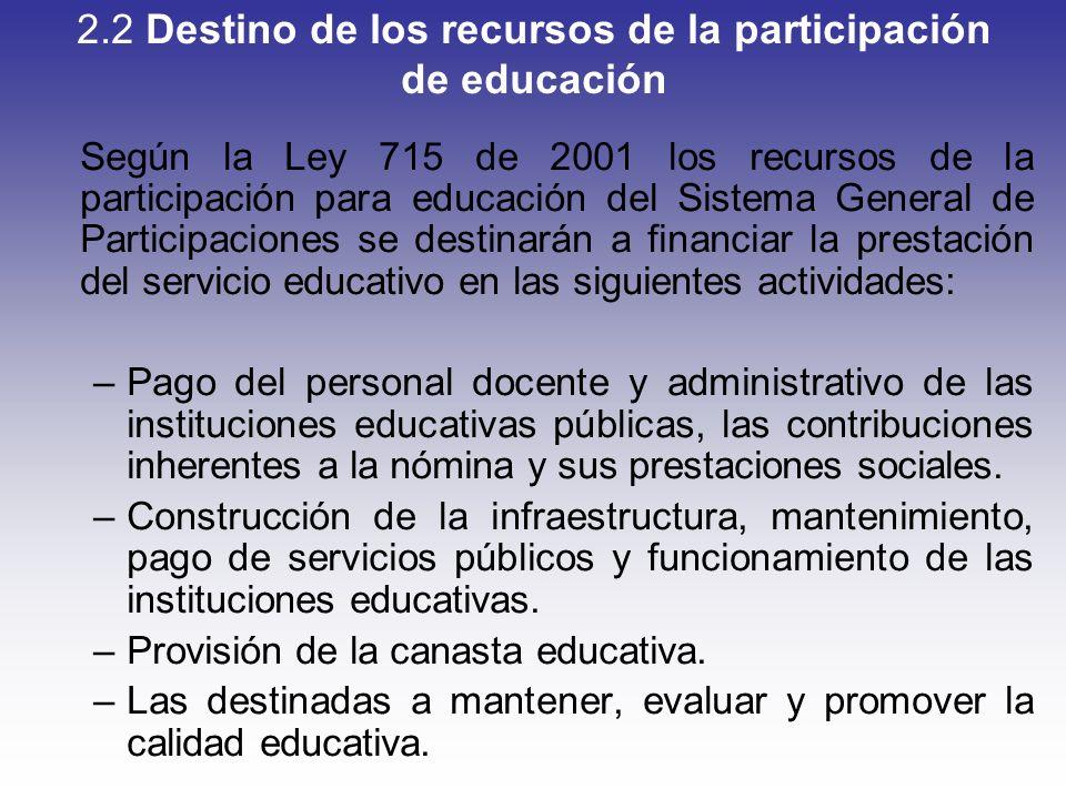 2.2 Destino de los recursos de la participación de educación Según la Ley 715 de 2001 los recursos de la participación para educación del Sistema Gene