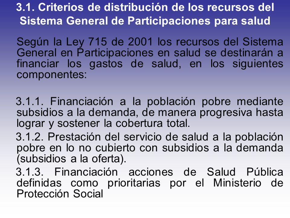 3.1. Criterios de distribución de los recursos del Sistema General de Participaciones para salud Según la Ley 715 de 2001 los recursos del Sistema Gen