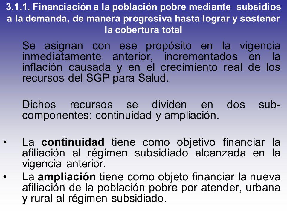 3.1.1. Financiación a la población pobre mediante subsidios a la demanda, de manera progresiva hasta lograr y sostener la cobertura total Se asignan c