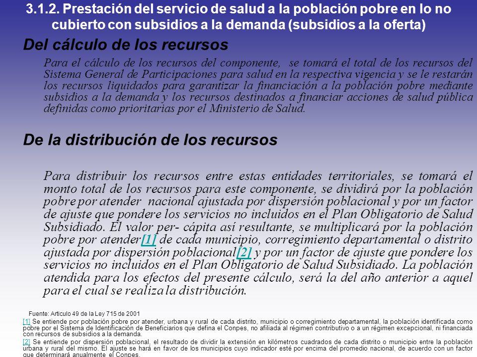3.1.2. Prestación del servicio de salud a la población pobre en lo no cubierto con subsidios a la demanda (subsidios a la oferta) Del cálculo de los r
