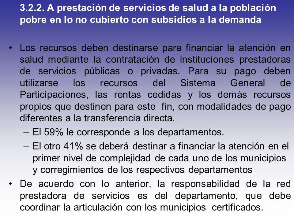 3.2.2. A prestación de servicios de salud a la población pobre en lo no cubierto con subsidios a la demanda Los recursos deben destinarse para financi