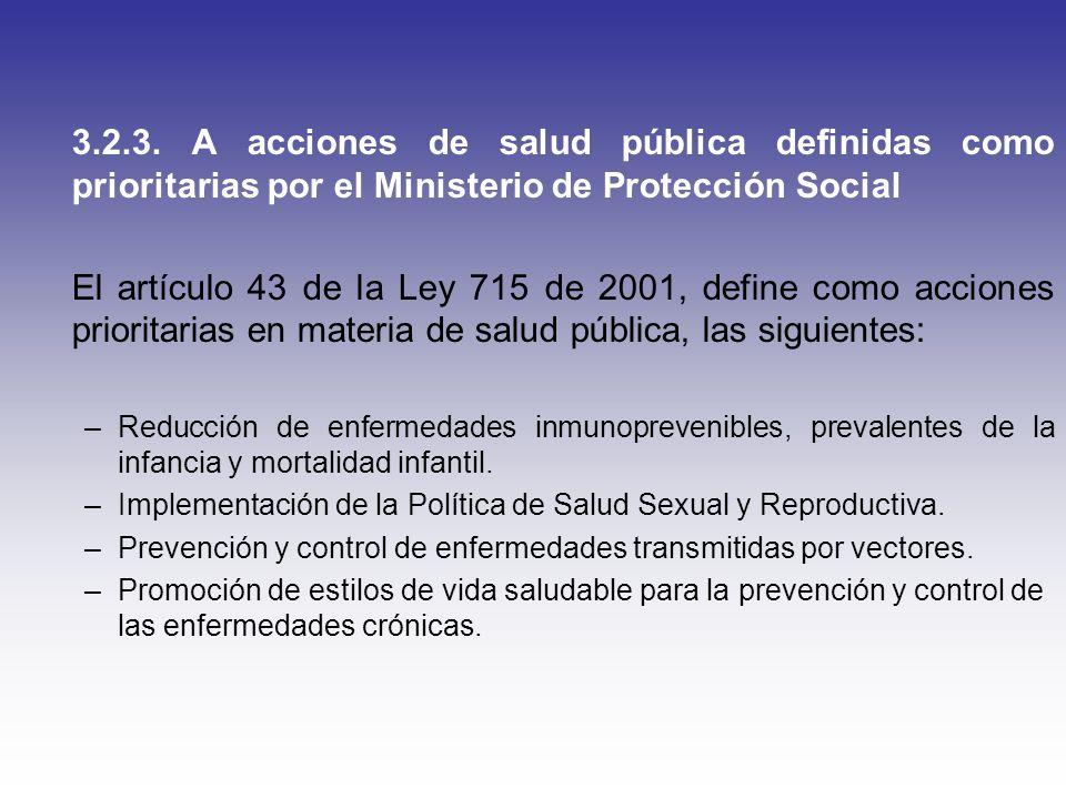 3.2.3. A acciones de salud pública definidas como prioritarias por el Ministerio de Protección Social El artículo 43 de la Ley 715 de 2001, define com