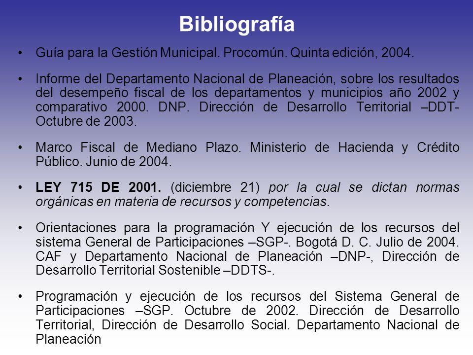 Bibliografía Guía para la Gestión Municipal. Procomún. Quinta edición, 2004. Informe del Departamento Nacional de Planeación, sobre los resultados del