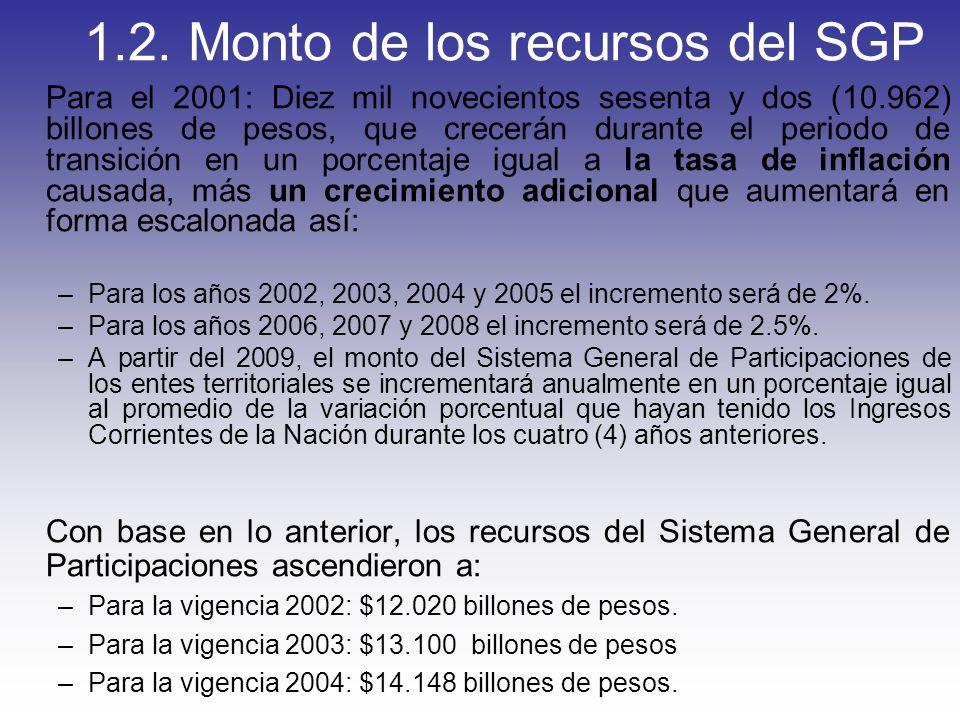 1.2. Monto de los recursos del SGP Para el 2001: Diez mil novecientos sesenta y dos (10.962) billones de pesos, que crecerán durante el periodo de tra