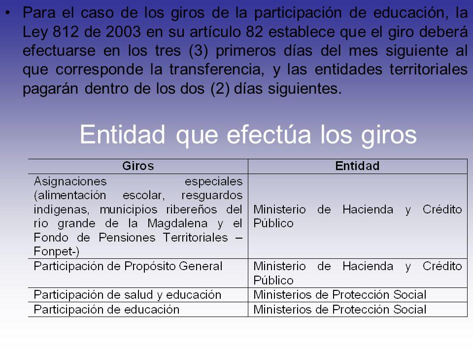 Para el caso de los giros de la participación de educación, la Ley 812 de 2003 en su artículo 82 establece que el giro deberá efectuarse en los tres (
