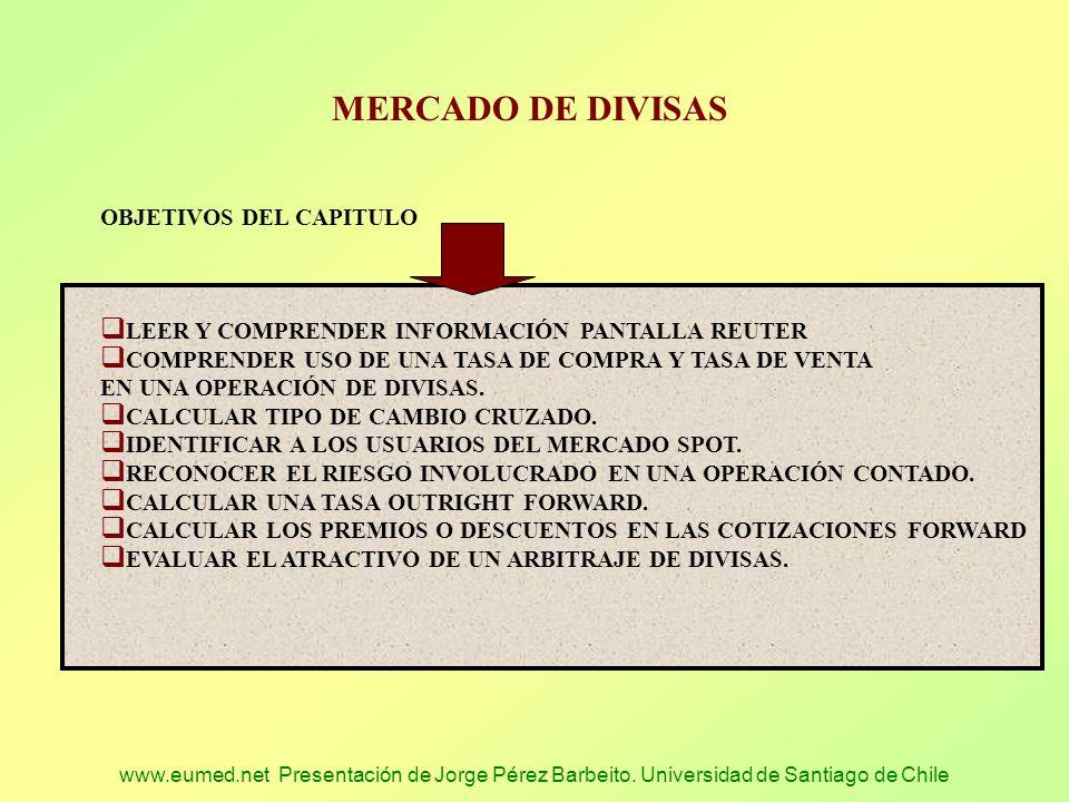 www.eumed.net Presentación de Jorge Pérez Barbeito. Universidad de Santiago de Chile MERCADO DE DIVISAS OBJETIVOS DEL CAPITULO LEER Y COMPRENDER INFOR