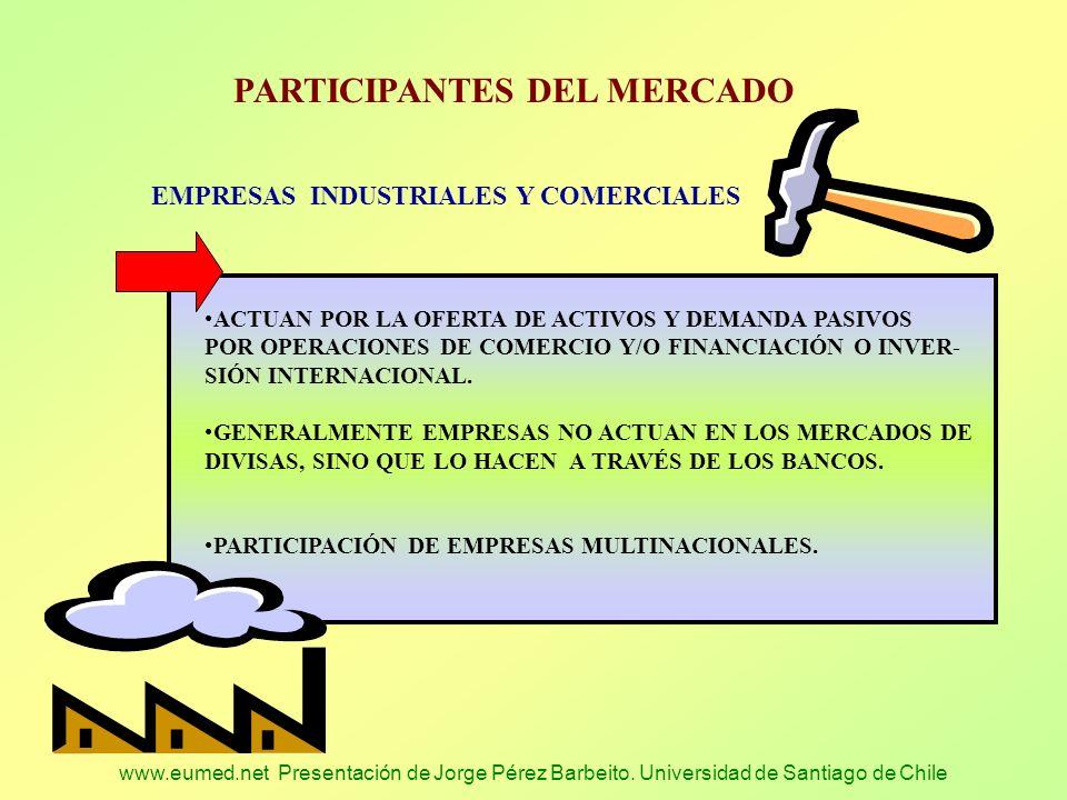 www.eumed.net Presentación de Jorge Pérez Barbeito. Universidad de Santiago de Chile PARTICIPANTES DEL MERCADO EMPRESAS INDUSTRIALES Y COMERCIALES ACT