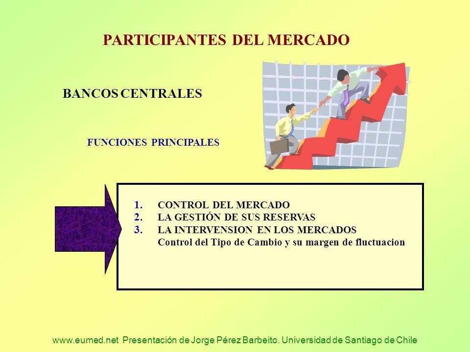 www.eumed.net Presentación de Jorge Pérez Barbeito. Universidad de Santiago de Chile PARTICIPANTES DEL MERCADO BANCOS CENTRALES FUNCIONES PRINCIPALES