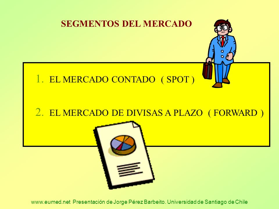 www.eumed.net Presentación de Jorge Pérez Barbeito. Universidad de Santiago de Chile SEGMENTOS DEL MERCADO 1. EL MERCADO CONTADO ( SPOT ) 2. EL MERCAD
