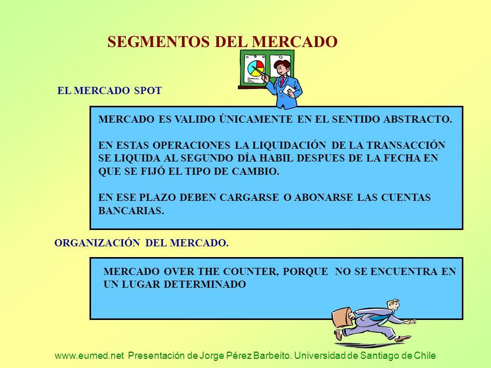 www.eumed.net Presentación de Jorge Pérez Barbeito. Universidad de Santiago de Chile SEGMENTOS DEL MERCADO EL MERCADO SPOT MERCADO ES VALIDO ÚNICAMENT