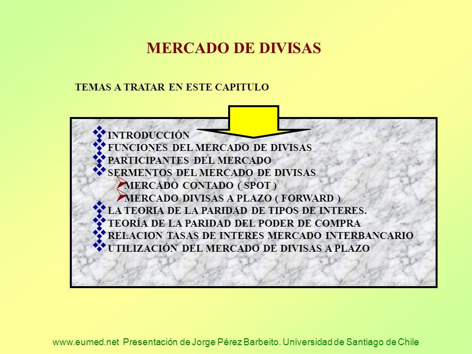 www.eumed.net Presentación de Jorge Pérez Barbeito. Universidad de Santiago de Chile MERCADO DE DIVISAS TEMAS A TRATAR EN ESTE CAPITULO INTRODUCCIÓN F