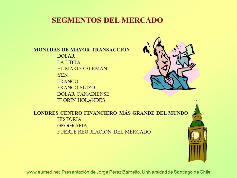 www.eumed.net Presentación de Jorge Pérez Barbeito. Universidad de Santiago de Chile SEGMENTOS DEL MERCADO MONEDAS DE MAYOR TRANSACCIÓN DÓLAR LA LIBRA