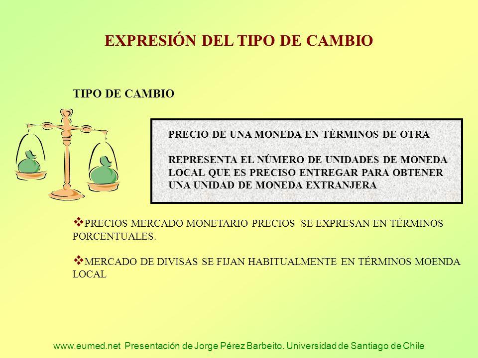www.eumed.net Presentación de Jorge Pérez Barbeito. Universidad de Santiago de Chile EXPRESIÓN DEL TIPO DE CAMBIO TIPO DE CAMBIO PRECIO DE UNA MONEDA