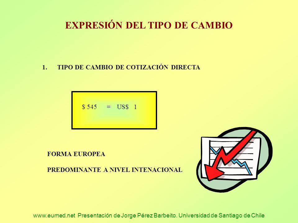 www.eumed.net Presentación de Jorge Pérez Barbeito. Universidad de Santiago de Chile EXPRESIÓN DEL TIPO DE CAMBIO 1.TIPO DE CAMBIO DE COTIZACIÓN DIREC