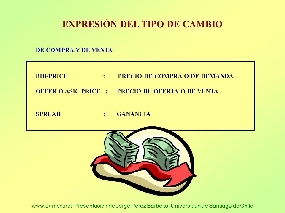 www.eumed.net Presentación de Jorge Pérez Barbeito. Universidad de Santiago de Chile EXPRESIÓN DEL TIPO DE CAMBIO DE COMPRA Y DE VENTA BID/PRICE : PRE