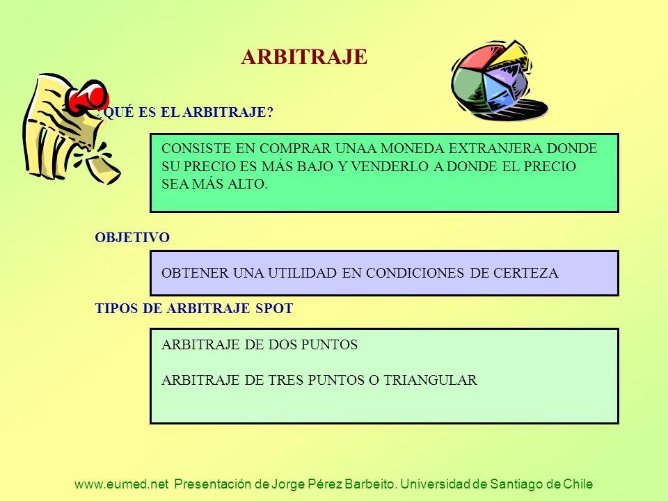 www.eumed.net Presentación de Jorge Pérez Barbeito. Universidad de Santiago de Chile ARBITRAJE ¿ QUÉ ES EL ARBITRAJE? CONSISTE EN COMPRAR UNAA MONEDA