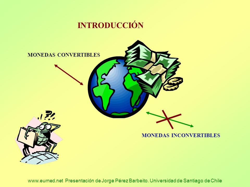 www.eumed.net Presentación de Jorge Pérez Barbeito. Universidad de Santiago de Chile INTRODUCCIÓN MONEDAS CONVERTIBLES MONEDAS INCONVERTIBLES