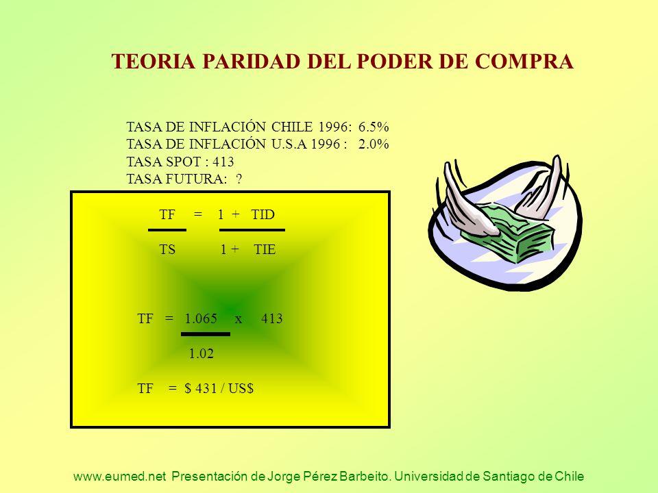 www.eumed.net Presentación de Jorge Pérez Barbeito. Universidad de Santiago de Chile TEORIA PARIDAD DEL PODER DE COMPRA TASA DE INFLACIÓN CHILE 1996: