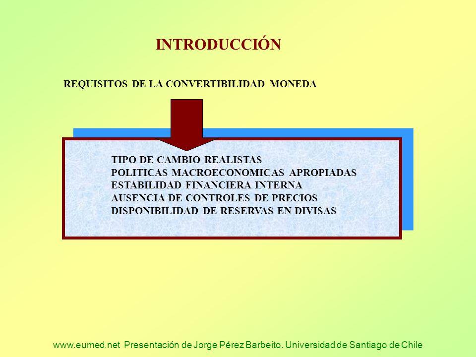 www.eumed.net Presentación de Jorge Pérez Barbeito. Universidad de Santiago de Chile INTRODUCCIÓN REQUISITOS DE LA CONVERTIBILIDAD MONEDA TIPO DE CAMB