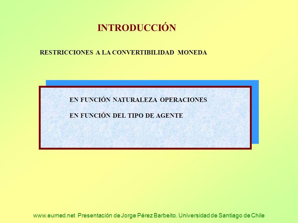 www.eumed.net Presentación de Jorge Pérez Barbeito. Universidad de Santiago de Chile INTRODUCCIÓN RESTRICCIONES A LA CONVERTIBILIDAD MONEDA EN FUNCIÓN