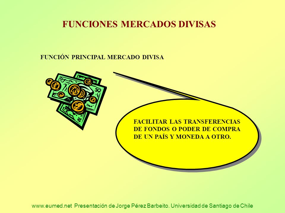 www.eumed.net Presentación de Jorge Pérez Barbeito. Universidad de Santiago de Chile FUNCIONES MERCADOS DIVISAS FUNCIÓN PRINCIPAL MERCADO DIVISA FACIL